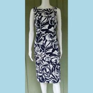 New ANN TAYLOR Navy Blue White Leaf Print Dress